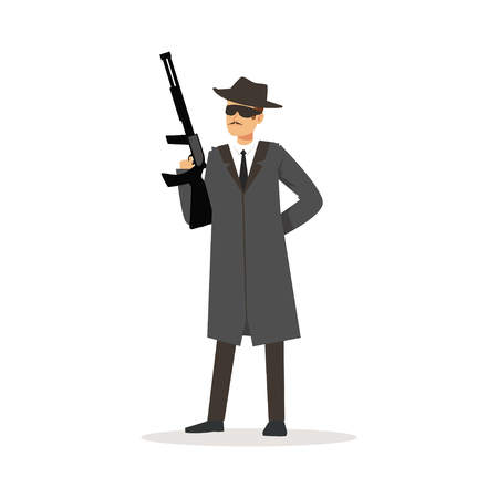 Mafia man character in gray coat and fedora hat holding submachine gun vector Illustration