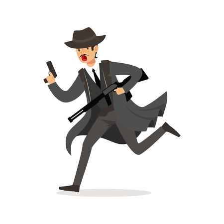 Mafia man character in gray coat and fedora hat running with guns vector Illustration