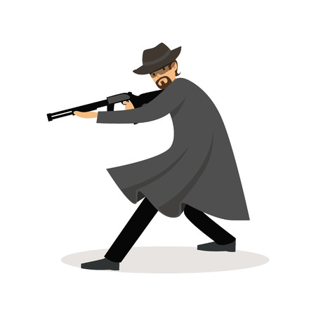 Mafia man character in gray coat and fedora hat standing aiming with submachine gun vector Illustration Vectores