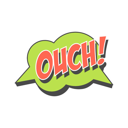 Ouch short phrase, speech bubble in retro style vector Illustration
