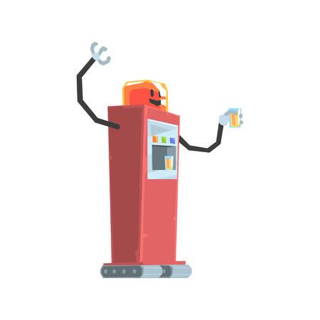 귀여운 만화 붉은 로봇 소다 자동 판매기 문자 벡터 일러스트 레이션