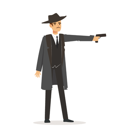 Mafia hitman character in gray coat and fedora hat standing aiming with gun vector Illustration