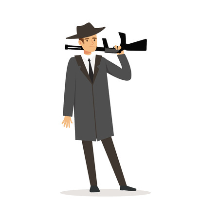 회색 코트와 총 벡터 일러스트와 함께 서 페도라 모자에 마피아 남자 문자 일러스트