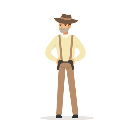 Mafia man character in brown fedora hat holding for two pistols under belt vector Illustration