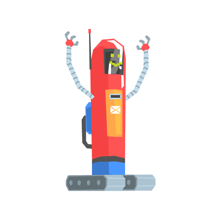 Cute red cartoon robot postman character vector Illustration 向量圖像