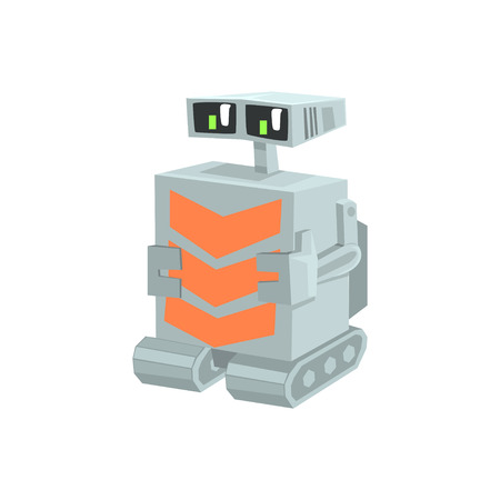 Cartoon crawler robot character vector Illustration Иллюстрация