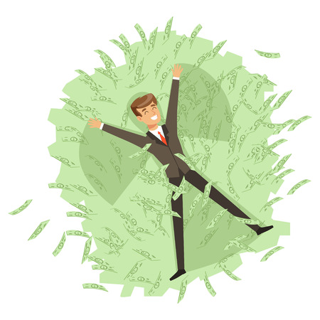 Happy rich successful businessman character bathing in the sea of green banknotes vector Illustration