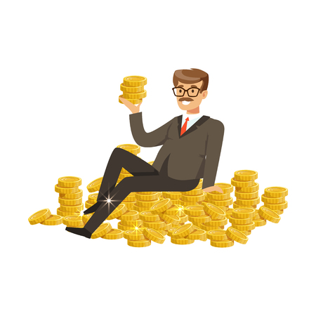 Happy rich successful businessman character sitting o gold coins vector Illustration