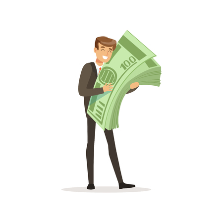 Happy rich successful businessman character holding giant money stack vector Illustration Illustration
