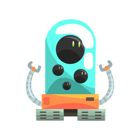 Ffunny cartoon robot crawler character with glass blue lense vector Illustration
