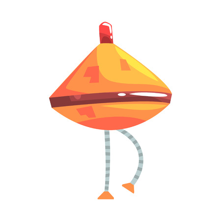 Cute cartoon orange robot cone with legs character vector Illustration