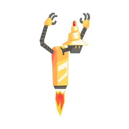 Funny cartoon robot character with booster taking off vector Illustration