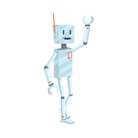 Cute cartoon robot character waving Hello vector Illustration Ilustração