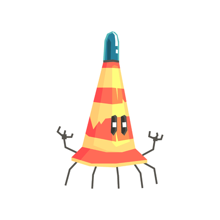 Cute cartoon robot traffic cone character vector Illustration