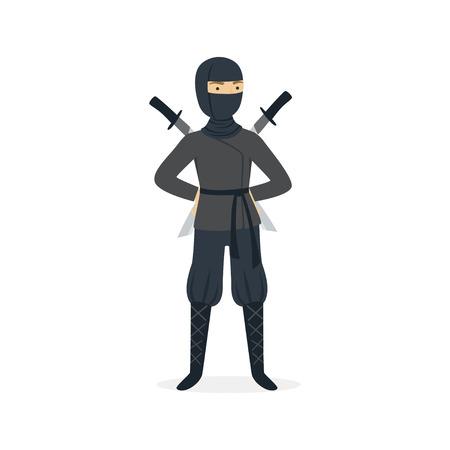 Ninja assassin character in a full black costume standing with katana swords behind his back, Japanese martial art vector Illustration on a white background Ilustração