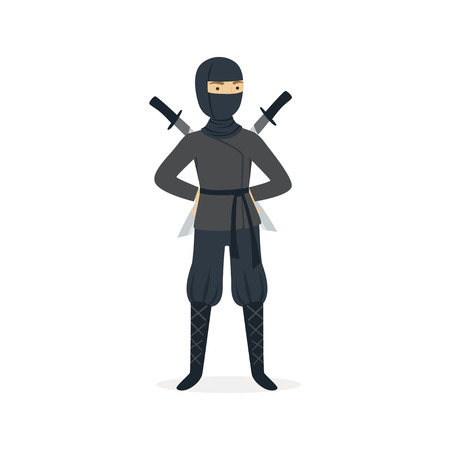 Ninja assassin character in a full black costume standing with katana swords behind his back, Japanese martial art vector Illustration on a white background Illustration