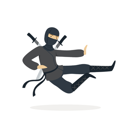 Ninja assassin character in a full black costume jumping with katana swords behind his back, Japanese martial art vector Illustration on a white background Banco de Imagens - 84002594