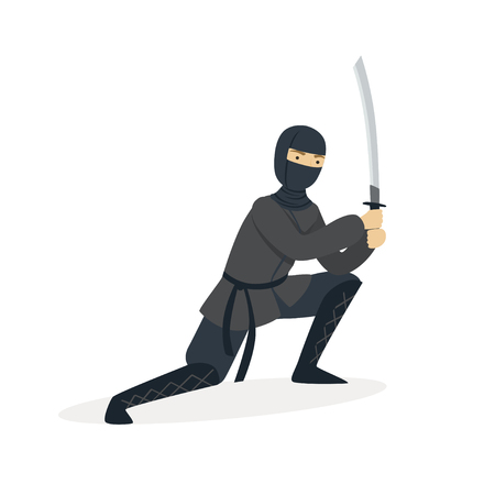Ninja assassin character in a full black costume standing in a combat pose with katana sword, Japanese martial art vector Illustration on a white background Illustration