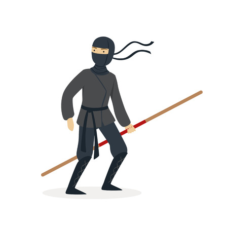 Ninja assassin character in a full black costume standing with bamboo training sword in his hand, Japanese martial art vector Illustration on a white background Stok Fotoğraf - 84002590