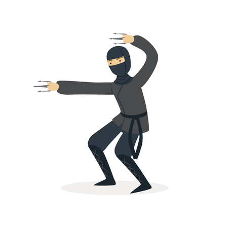 Ninja assassin character in a full black costume fighting with claws, Japanese martial art vector Illustration