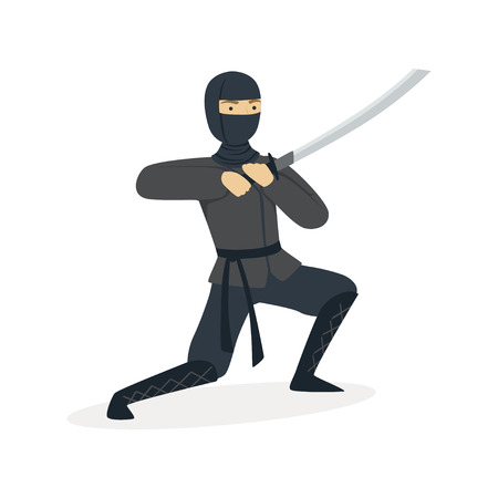 Ninja assassin character in a full black costume fighting with katana sword, Japanese martial art vector Illustration on a white background