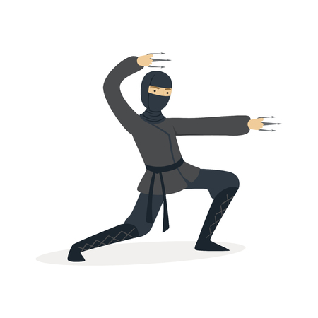 Ninja assassin character in a full black costume fighting with stainless claws, Japanese martial art vector Illustration on a white background
