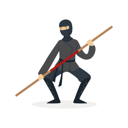 Ninja assassin character in a full black costume fighting with bamboo training sword in his hand, Japanese martial art vector Illustration on a white background