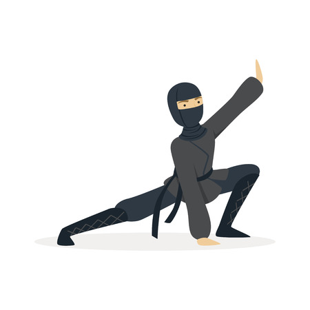 Ninja assassin character in a full black costume standing in a combat pose, Japanese martial art vector Illustration on a white background Banco de Imagens - 84002586