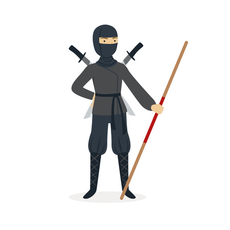 Ninja assassin character in a full black costume standing with katana swords behind his back and bamboo training sword in his hand, Japanese martial art vector Illustration on a white background Banco de Imagens - 84002597