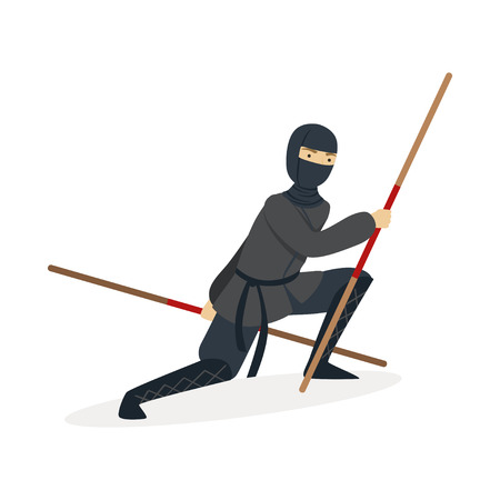Ninja assassin character in a full black costume fighting with bamboo training swords in his hands, Japanese martial art vector Illustration on a white background Çizim