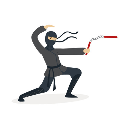 Ninja assassin character in a full black costume fighting with nunchaku in his hands, Japanese martial art vector Illustration on a white background Illustration