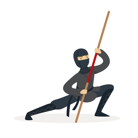 Ninja assassin character in a full black costume fighting with bamboo sword in his hand, Japanese martial art vector Illustration