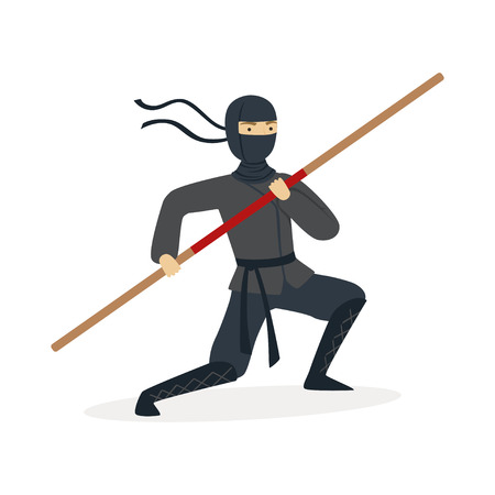 Ninja assassin character in a full black costume training with bamboo sword in his hand, Japanese martial art vector Illustration Çizim
