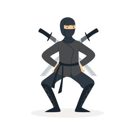 Ninja assassin character in a full black costume standing in a combat pose with katana swords behind his back, Japanese martial art vector Illustration on a white background