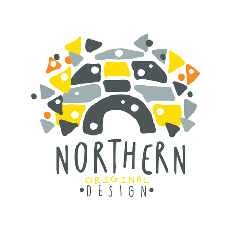 wintery: Nothern logo template design, badge for nothern travel, sport, holiday, adventure colorful hand drawn vector Illustration on a white background