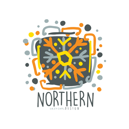 ice: Nothern logo template, badge for nothern travel, sport, holiday, adventure colorful hand drawn vector Illustration with snow elements on a white background Illustration