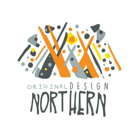 Nothern logo sjabloon oorspronkelijke ontwerp, badge voor noordelijke reizen, sport, vakantie, avontuur kleurrijke hand getrokken vector illustratie met symbolen van noordelijke mensen op een witte achtergrond Stock Illustratie