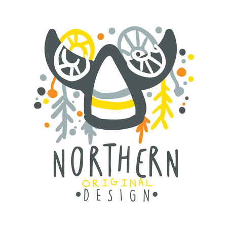 ice: Nothern logo template original design, badge for nothern travel, sport, holiday, adventure colorful hand drawn vector Illustration on a white background