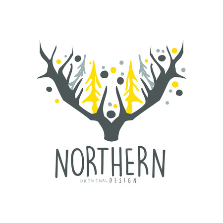 Nothern logo template original design, badge for nothern travel, sport, holiday, adventure colorful hand drawn vector Illustration with symbols of the north land on a white background Illustration