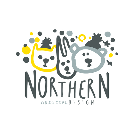 wintrily: Nothern logo template original design, badge for nothern travel, sport, holiday, adventure colorful hand drawn vector Illustration with symbols of the north nature on a white background