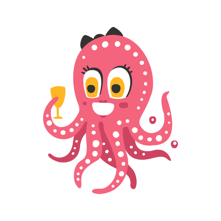 Cute cartoon pink female octopus character holding glass, funny ocean coral reef animal vector Illustration on a white background