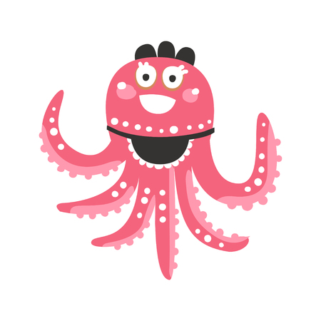 Cute cartoon pink octopus waitress character, funny ocean coral reef animal vector Illustration on a white background
