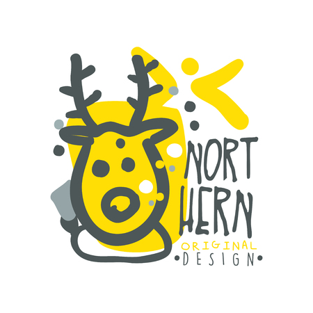 wintrily: Nothern logo template original design, badge for nothern travel, sport, holiday, adventure colorful hand drawn vector Illustration with symbols of the north land on a white background Illustration