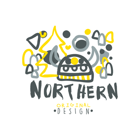 wintrily: Nothern logo template original design, badge for nothern travel, sport, holiday, adventure colorful hand drawn vector Illustration on a white background