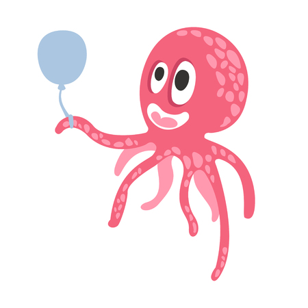 Cute cartoon pink octopus character holding air balloon, funny ocean coral reef animal vector Illustration on a white background Çizim