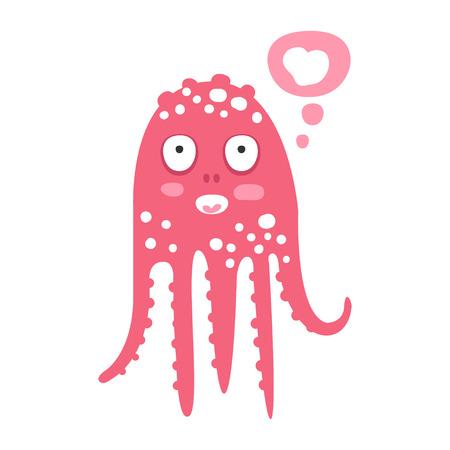 Cute cartoon pink octopus character dreaming, funny ocean coral reef animal vector Illustration