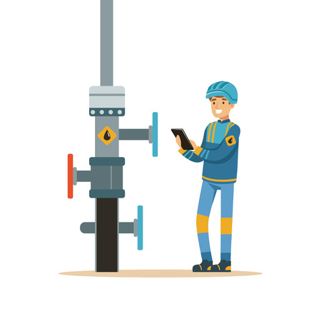 Oilman inspecting an oil pipeline, oil industry extraction and refinery production vector Illustration Illustration
