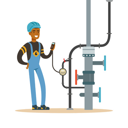 natural gas production: Black oilman worker on an oil pipeline controlling gauges, transportation of oil and petrol vector illustration