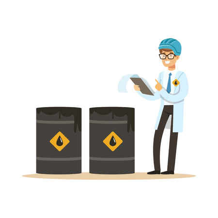 Engineer of oil industry controlling the process of oil production vector illustration Illusztráció