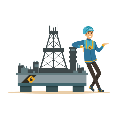 Oilman standing next to an oil rig drilling platform, oil industry extraction and refinery production vector Illustration Illustration